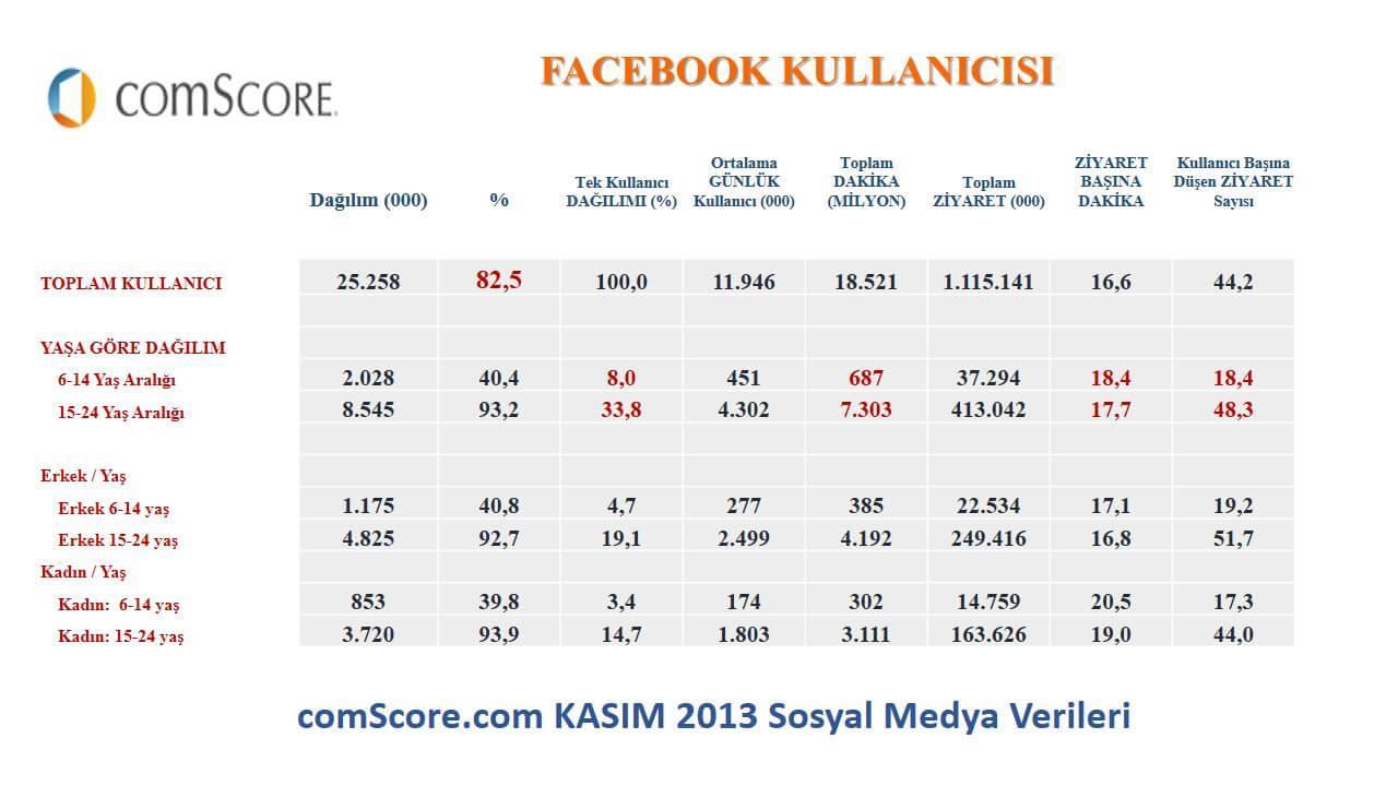 comStore.com'dan alınan 2013'KAsım ayı Facebook Verileri Prof. Dr. Süleyman Engin Akhan